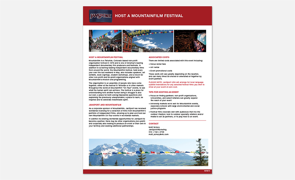 JanSport Mountainfilm Festival Sell Sheet