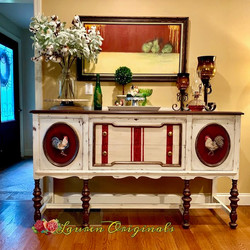 Hand Painted Rooster Sideboard