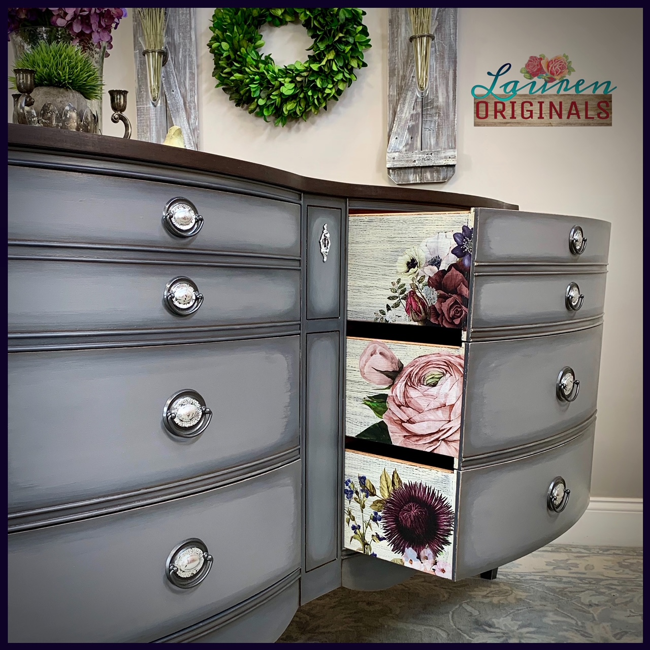 Antique Gray Dresser