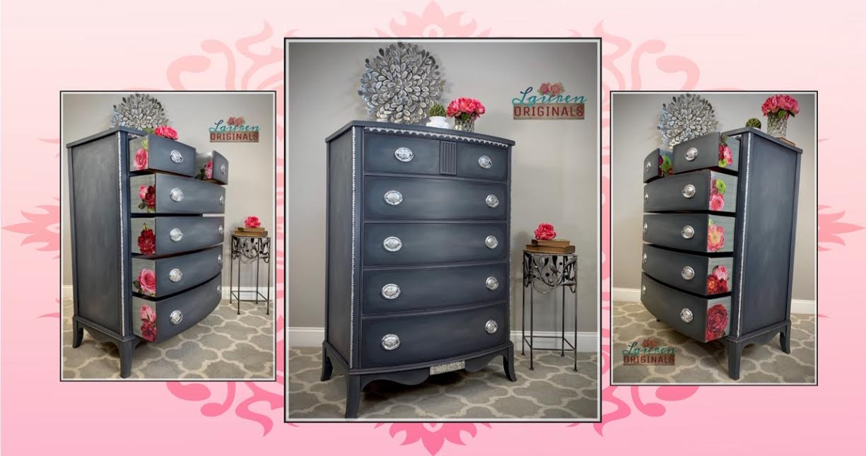 Elegant Vintage Dresser with floral drawer sides