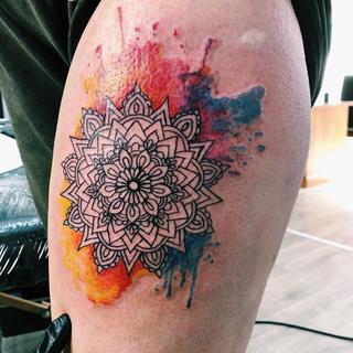 Watercolour Mandala Tattoo Projectinkwem