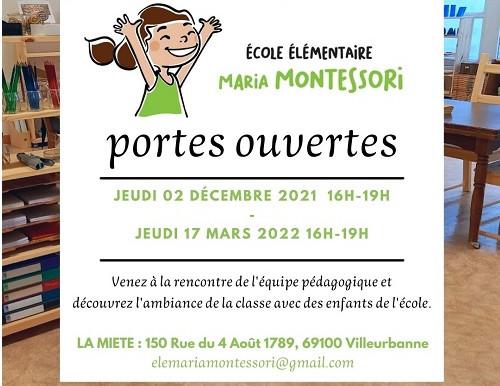 PORTES OUVERTES ECOLE ELEMENTAIRE MARIA MONTESSORI 2.12.2021 & 17.3.2022 16-19h.
