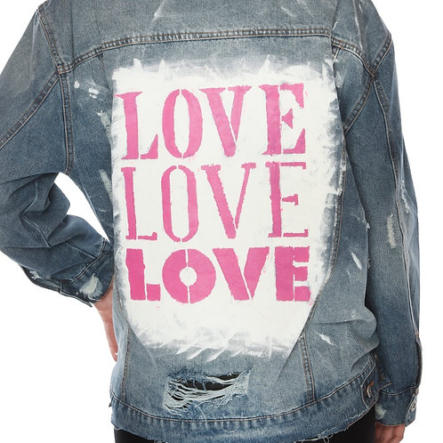 LOVE LOVE LOVE - hand painted, custom, distressed jean jacket
