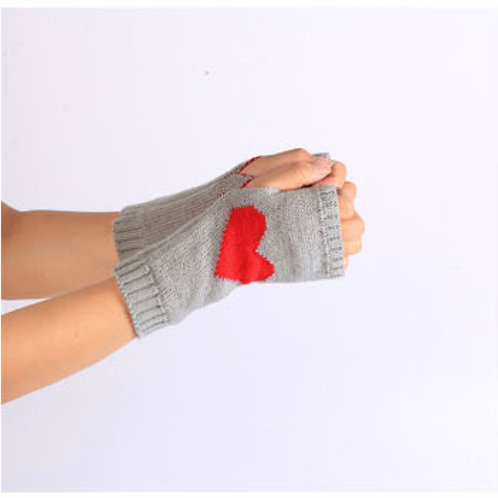 Be still my red heart - fingerless gloves