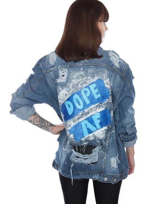 Dope AF - custom made jean jacket - distressed