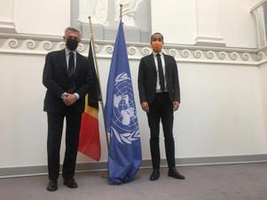 Filippo Grandi, VN Hoge Commissaris voor de Vluchtelingen, op de gezamenlijke persbriefing met Sammy