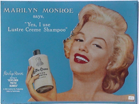 Marilyn Monroe: Lustre-Creme Tin Sign Approx 1950-