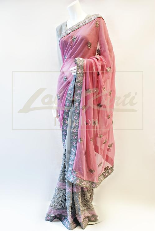 Pale Lavender-Pink & Grey Sari