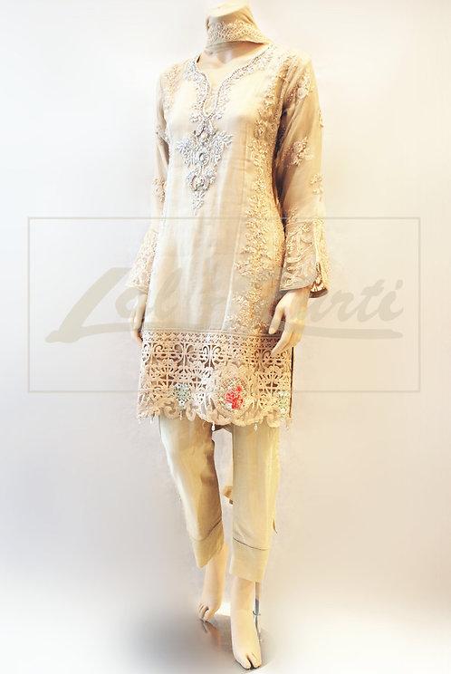 Light Beige Organza Lace Trouser Suit