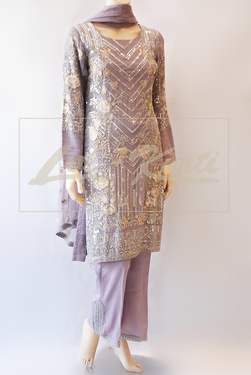 Lilac Floral Shimmer Trouser Suit
