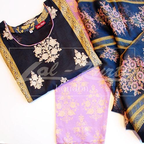 Black & Lilac light cotton suit
