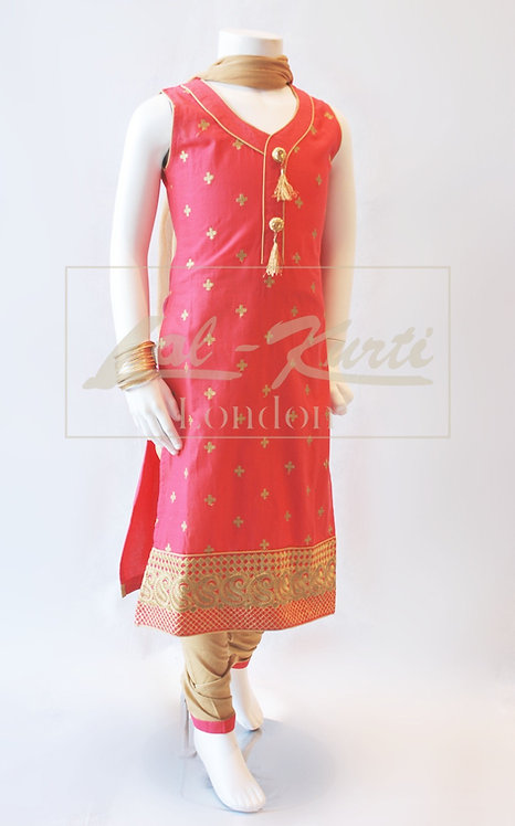 Coral Pink Straight Kameez with Churidar