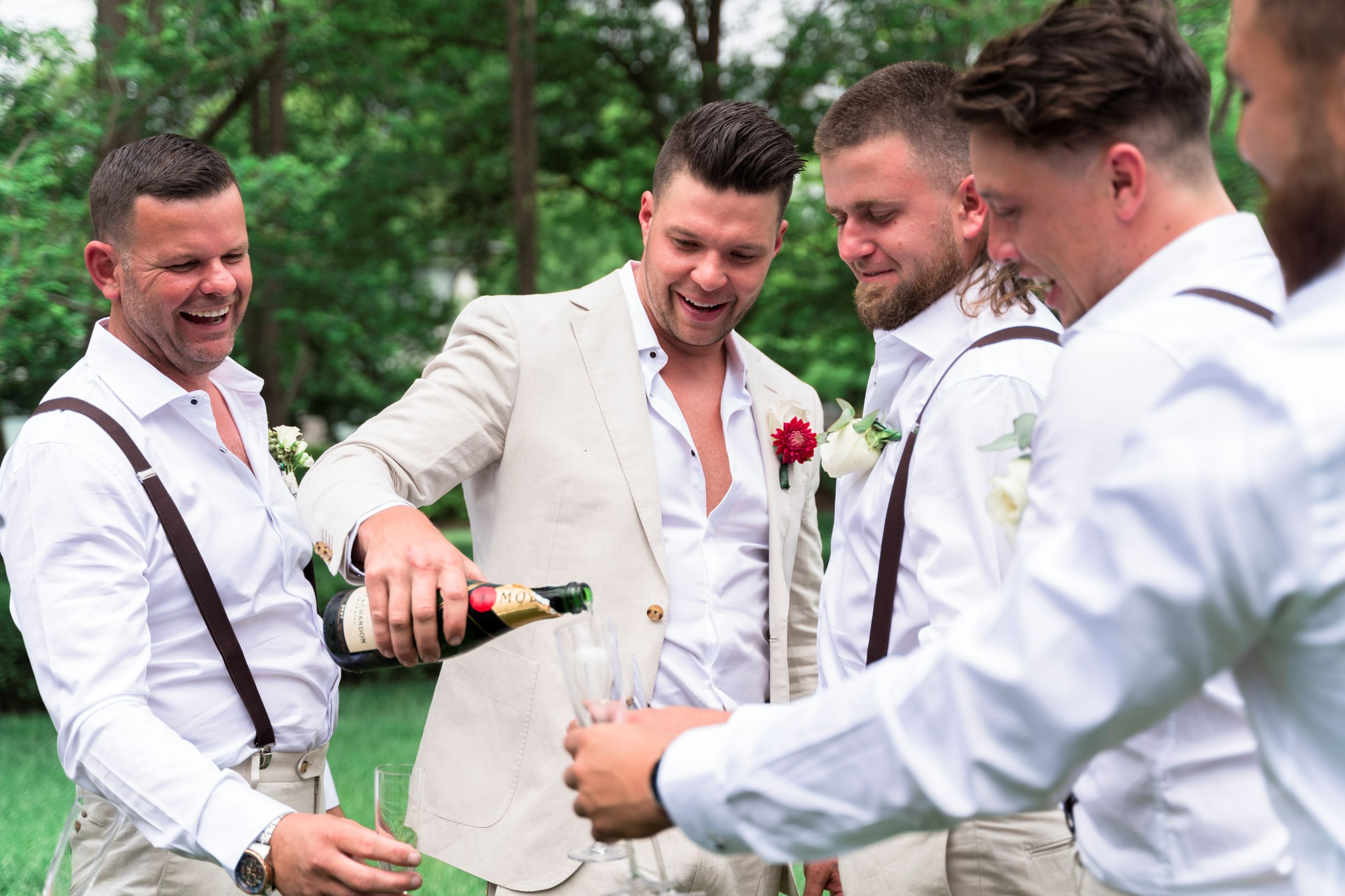 Lynda Leith wedding celebrant. Groomsmen celebrating at a wedding