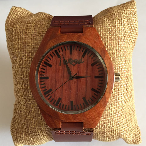 Orologio in Legno Leather Red