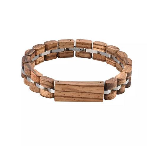 Bracciale in legno e metallo