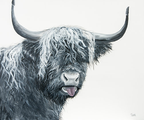 Cheeky Highland Cow- (91.4 x 76.2cm) Original Arylic Painting