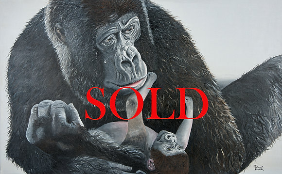 Gorilla & Baby- (121.9 x 76.2cm) Original Arylic Painting on Canvas ( X Large)