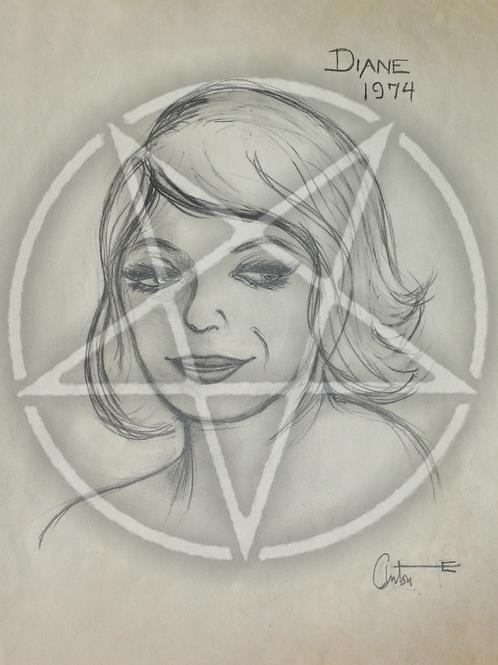 Anton LaVey 'Diane 1974' Drawing