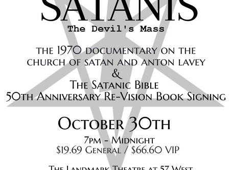 Grandson of the Black Pope Celebrates the 50th Anniversary of The Satanic Bible with a One Night Onl