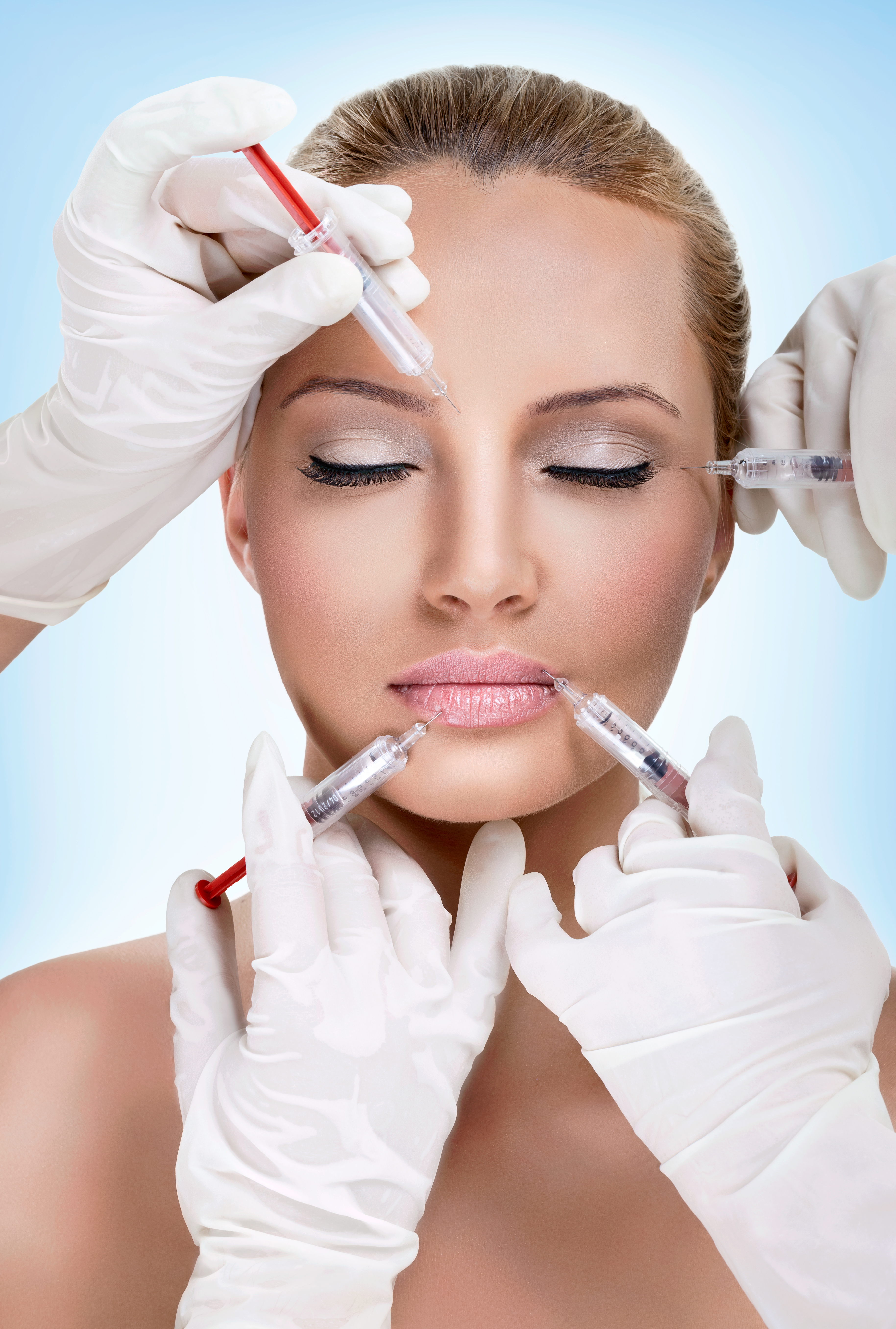 Injections of botox,  woman having beauty treatment