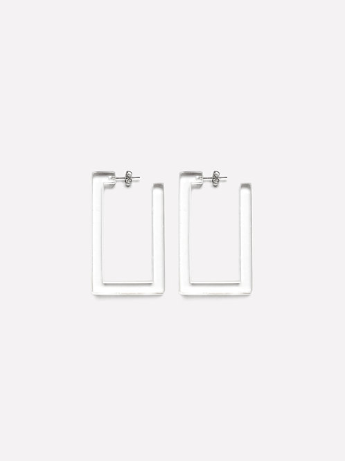 Mini Square Earring Clear