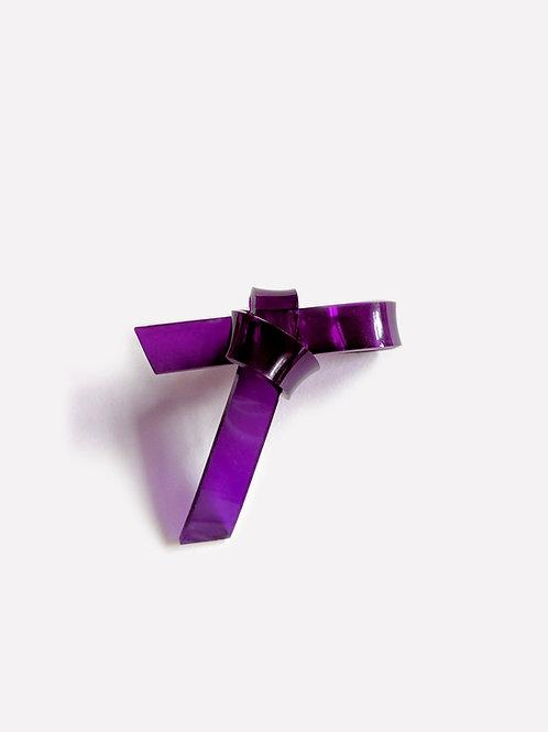 The Ribbon Shape 2  - Purple [Single Earring]