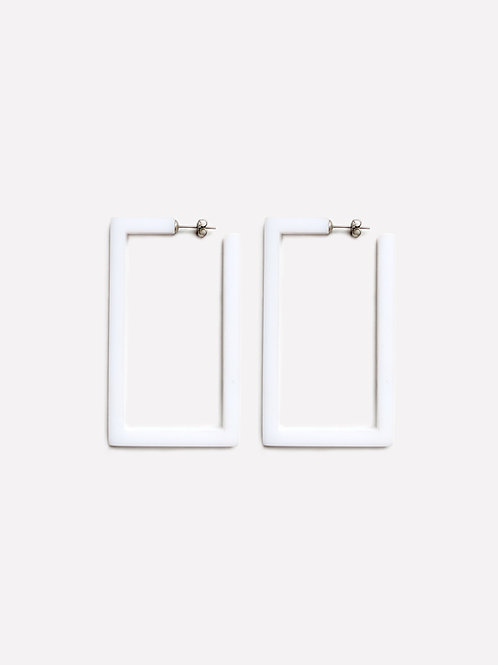 Square Earring White