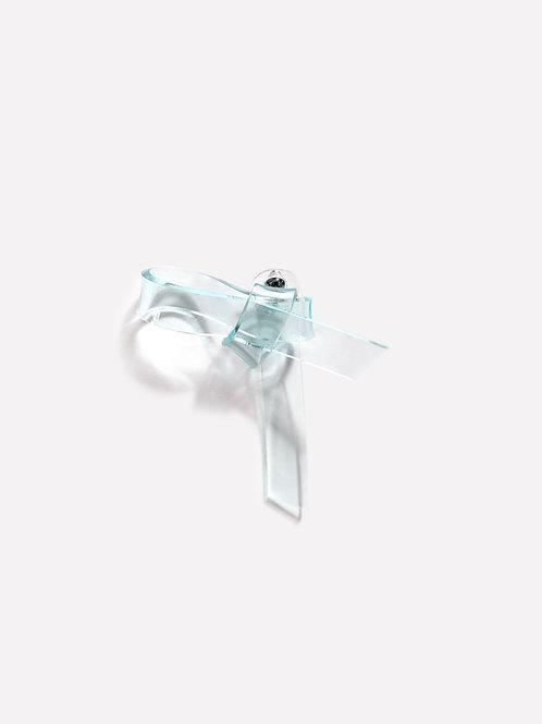 The Ribbon Shape 2  - Green [Single Earring]