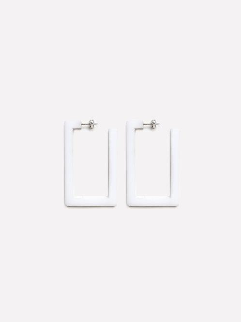 Mini Square Earring White