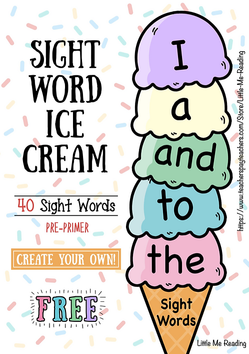 FREE Dolch Sight Word Ice Cream Review Record Cutout Activity (Pre-Primer)