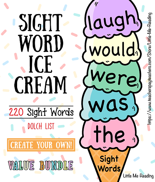 Dolch Sight Word Ice Cream Review Record Cutout Activity (Value Bundle)