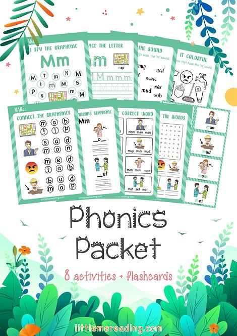 Letter M Phonics Grapheme NO-PREP worksheet flashcard packet