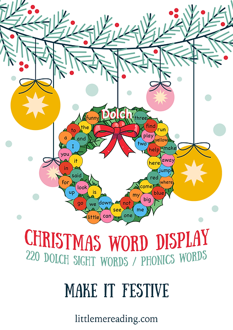 Christmas Tree Holiday Dolch Sight Words Display Phonics Activity Decoration