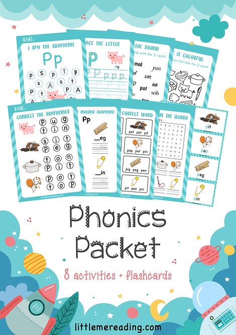 Phonics Grapheme NO-PREP worksheet flashcard packet (Letter P)