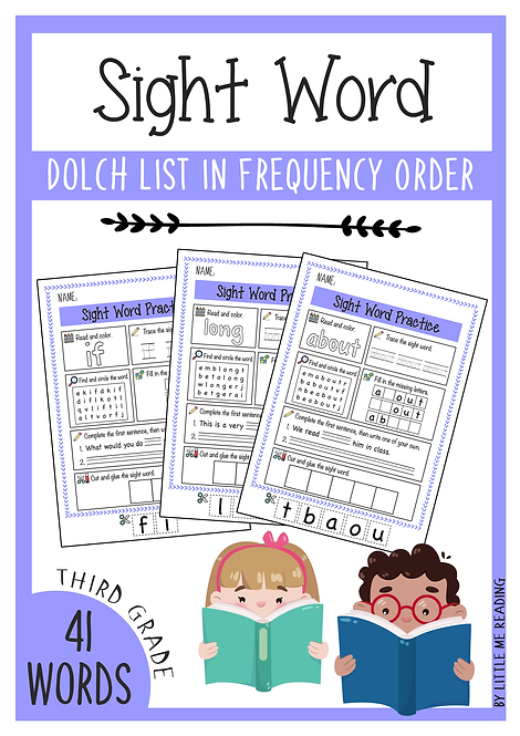 Dolch Sight Word Worksheet No-PREP Packet (3rd Grade)