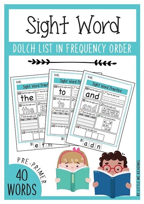 Dolch Sight Word Worksheet NO-PREP packet (Pre-Primer)