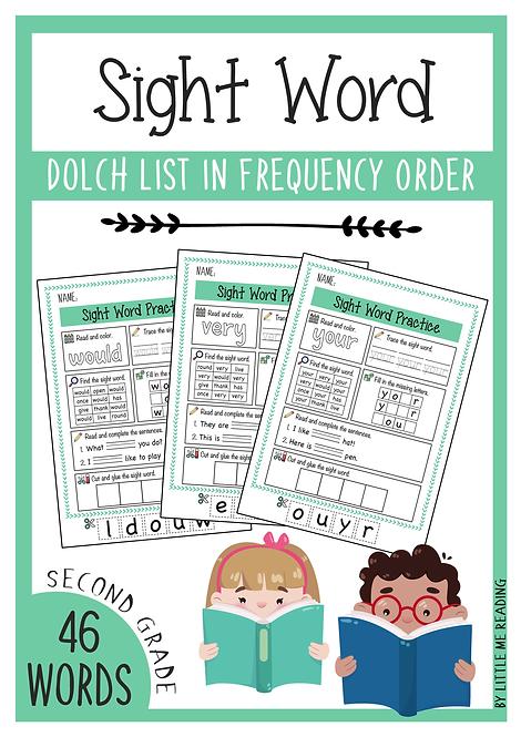 Dolch Sight Word Worksheet No-PREP Packet (2nd Grade)