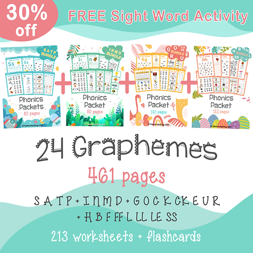 Super Phonics Bundle No-prep Graphemes Reading Worksheets Flashcards
