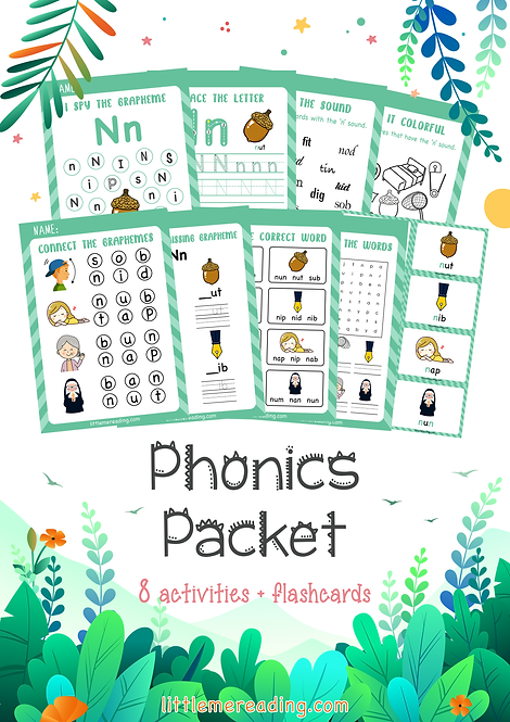 Letter N Phonics Grapheme NO-PREP worksheet flashcard packet