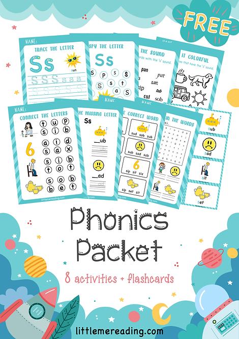 FREE Phonics Grapheme NO-PREP worksheet flashcard packet (Letter S)
