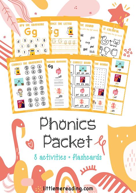 Letter D Phonics CVC Reading Grapheme NO-PREP worksheets flashcard packet