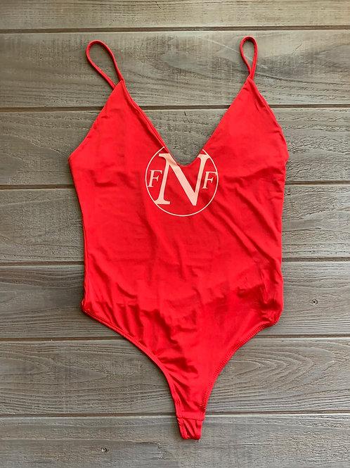 NFF Circle Logo Bodysuit- Red/Vintage Rose