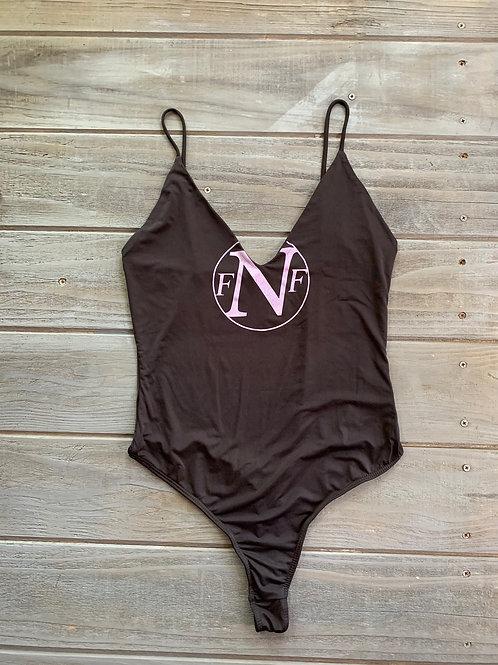 NFF Circle Logo Bodysuit- Black /Vintage Lilac