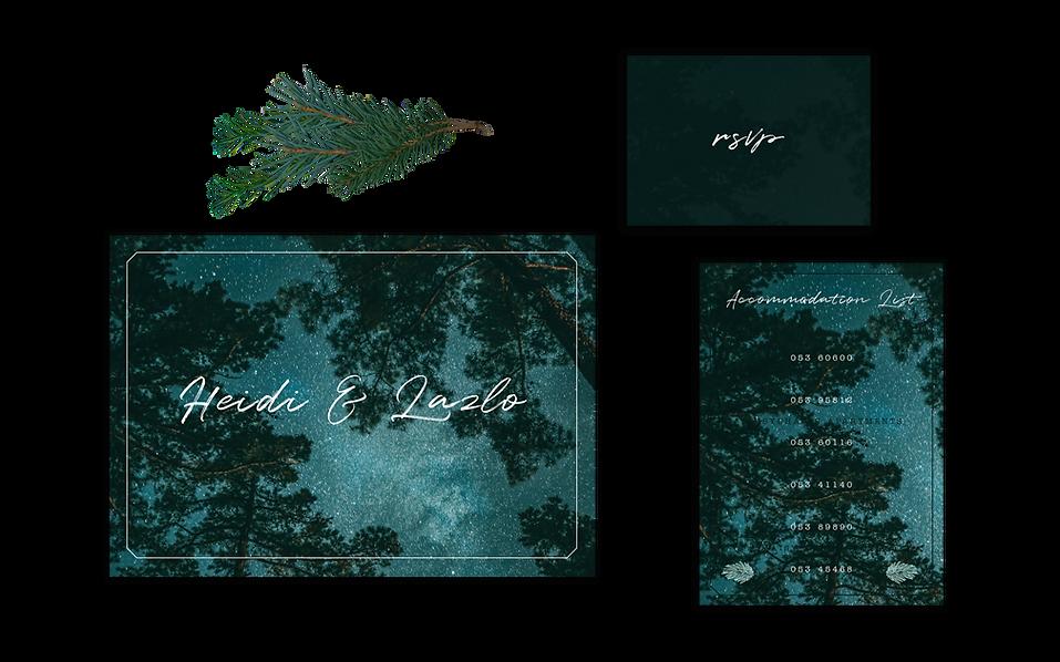 Stars, Trees and Night Sky Wedding Invitation Rustic Woodland Theme