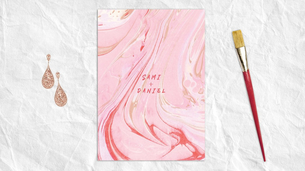Marbled pink wedding invitations