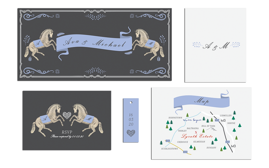 Horse Cabaret Fairground Circus Wedding Invitations Ireland Grey an Purple