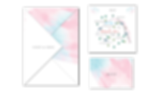 Pastel Clouds Origami Fold Wedding Invitation Pink Blue White Emerald Heart Ireland