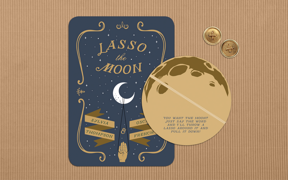 LASSO THE MOON - It's A Wonderful Life Movie Wedding Invitation