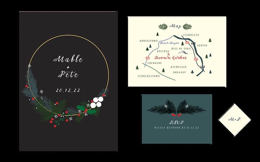Christmas Winter Wedding Invitations Wreath Winter Berries Pine Emerald Heart Ireland