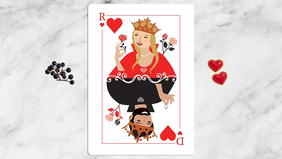King and queen of hearts card game wedding invitations